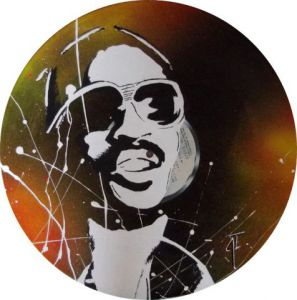 Artisanat de Vinyl Creation: Portrait Stevie wonder sur disque vinyle 33 tours