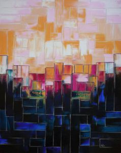 Peinture de Olivia BOA: Sunset on buldings