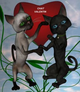 Illustration de lacourly: Chat valentin