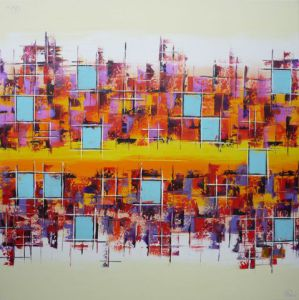 Peinture de Olivia BOA: Small blue squares in Miami
