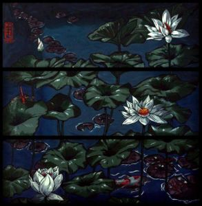 Peinture de Anna Karen: Lotus and Dragonflies