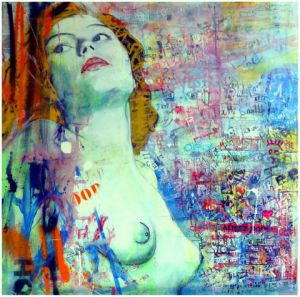 Peinture de jean charles toullec: woman and graffities
