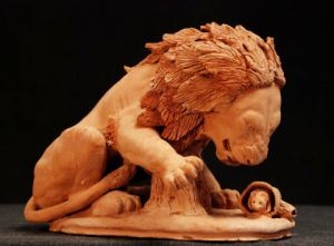 Sculpture de Joel Roussin: Le Lion et le Rat