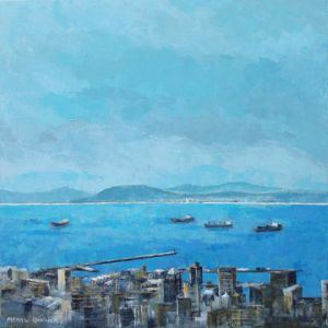 Peinture de Meryl QUIGUER: Table Bay blues.