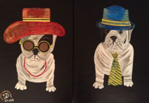 Peinture de SONYA DZIABAS: MISS And MISTER DOG