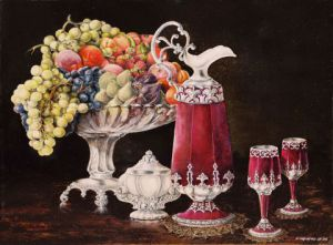 Peinture de Jacques MONCHO: La coupe de fruits
