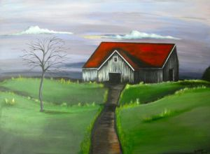 Voir cette oeuvre de Stephanie REBATO: Red Roof, house lost in the countrie