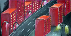 Peinture de SARDINE: city by night