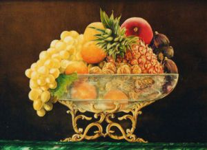 Peinture de Jacques MONCHO: Coupe de fruits ave ananas