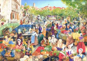 Peinture de Jacques MONCHO: le march� provencal