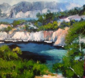 Peinture de Veronique LANCIEN: PORT PIN CALANQUES DE PROVENCE