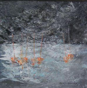 Peinture de Meryl QUIGUER: Moorings at night