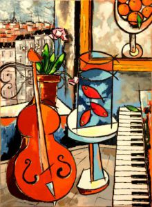 Peinture de JIEL: The three goldfish of Matisse with cello, etc
