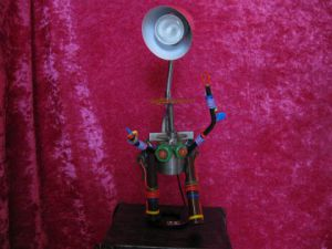 Sculpture de bellagamba  gilles: robot  lampe