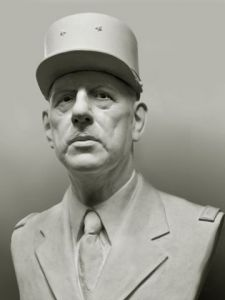 Sculpture de Laurent mc sculpteur portrait: Portrait G�n�ral De Gaulle