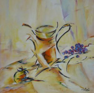 Peinture de janine chetivet: pot orange