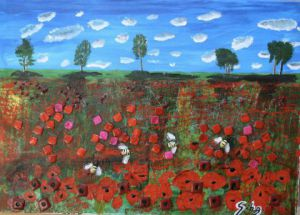 Collage de iridium: champs de coquelicots