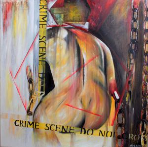 Peinture de Myriam Bonnet: Crime scene do not cross