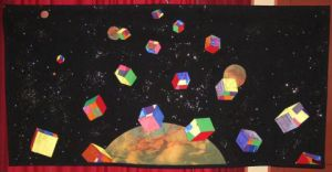 Art_textile de Jean Pierre Avonts-Saint Lager: CUBES VOLANTS NON IDENTIFIES / UNIDENTIFIED FLYING CUBES