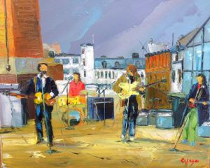 Peinture de Philippe CALABRO: Beatles on the roof