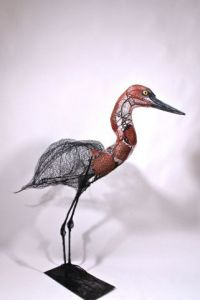 Sculpture de Breval: Egret rouge