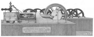 Dessin de Francois MOLL: Ancienne machine à vapeur de la distillerie Saint James - Sainte Marie - Martini