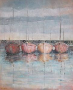 Peinture de Meryl QUIGUER: Behind the harbour wall