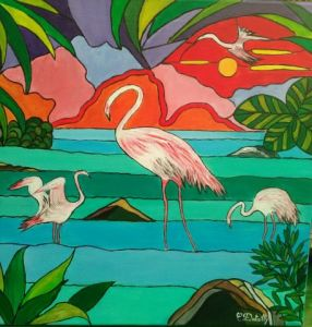Oeuvre de Catherine Dutailly: Les flamants roses