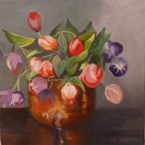 Bouquet de tulipes peinture emilie leonardi for Bouquet de tulipes