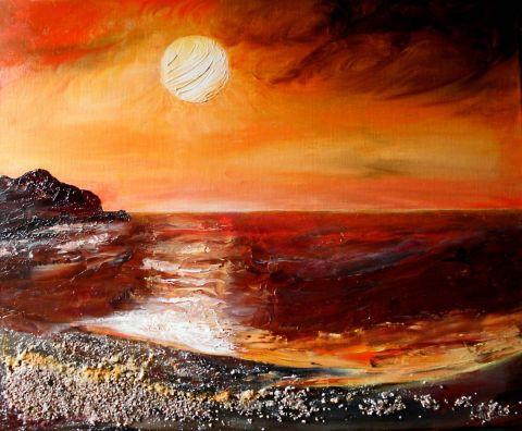 Coucher de soleil peinture l 39 huile au couteau peinture monemaier - Peinture au couteau huile ...