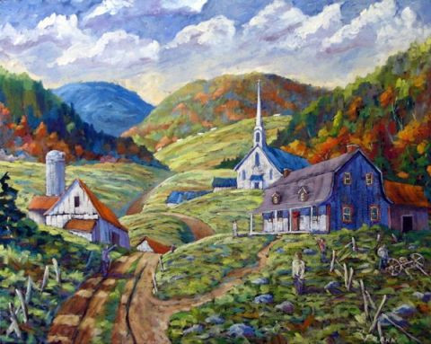 Prankearts - A Day in our Valley original large landscape painting by Prankearts