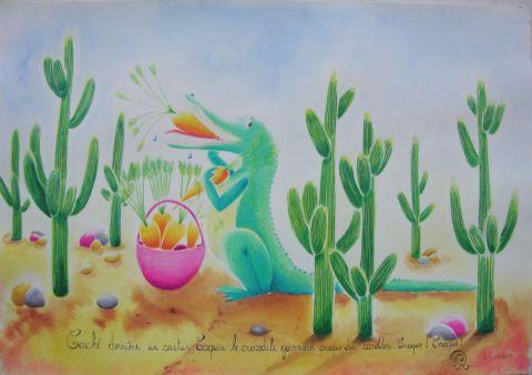 Coquin le crocodile gourmand peinture rosyline3 for Peinture crocodile