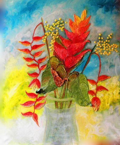 Peinture de fleurs balisier peinture huile au couteau peinture monemaier - Peinture au couteau huile ...