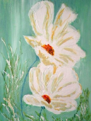 grandes fleurs peintes sur toile en relief peinture florence. Black Bedroom Furniture Sets. Home Design Ideas