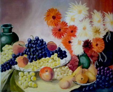 Maryaude - Nature morte fruits et fleurs