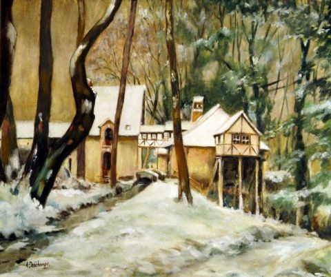 alain deschamps - Le Moulin Minette sous la neige .