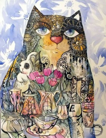 OXANA ZAIKA - Chat et nature morte