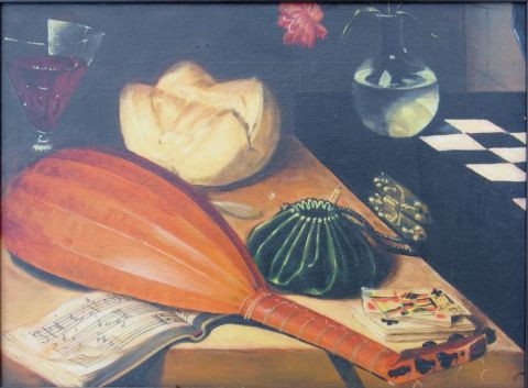 Noel SENDRA - D�tail de nature morte a l'�chiquier d'apr�s LUBIN BAUGIN 1608 1663
