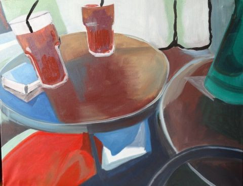 Christiane Jousset - sur une table de bistrot