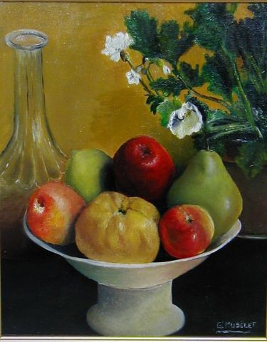Gerard MUSELET  - coupe de fruits copie d'un détail de Fantin-Latour