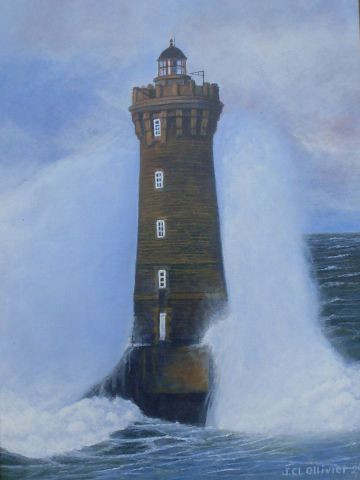 Albert Nic du Rocher - Le phare du Four sous les embruns