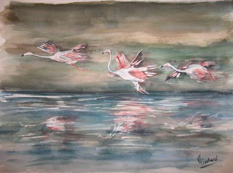 valerie CROCHARD - Envol de flamants roses