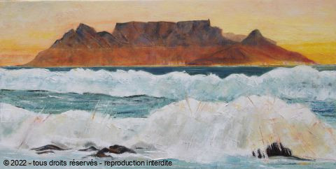 L'artiste Meryl QUIGUER - Yellow sunset over Cape Town