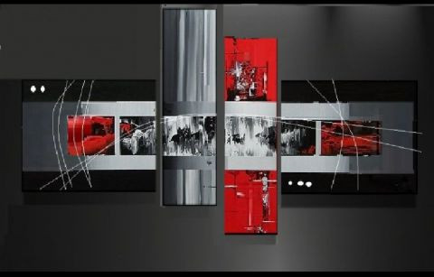 tableau moderne rouge et gris day by rain peinture ejrac. Black Bedroom Furniture Sets. Home Design Ideas