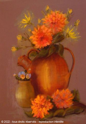 BETTY-M peintre - Bouquet de dahlias