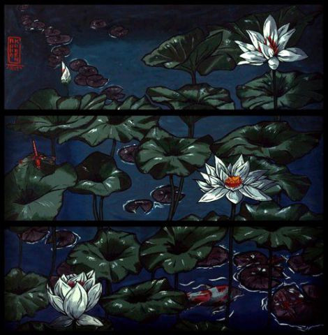 Anna Karen - Lotus and Dragonflies