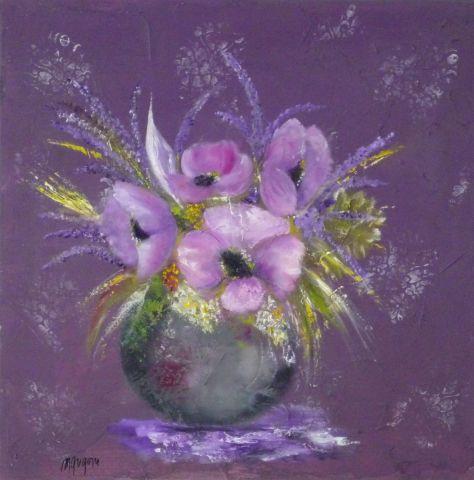 Bouquet violet peinture martine gregoire for Peinture violette
