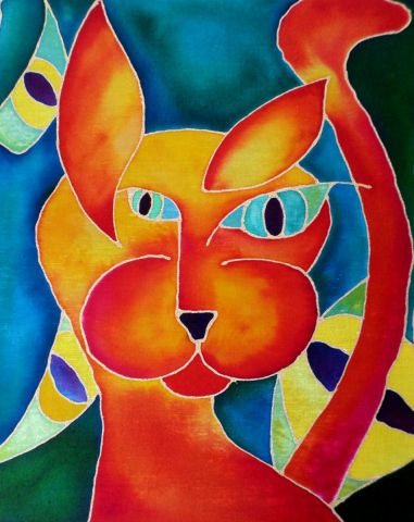 catherine vaganay metal sculpture - Psychedelic Cat Serie: I See You Cat