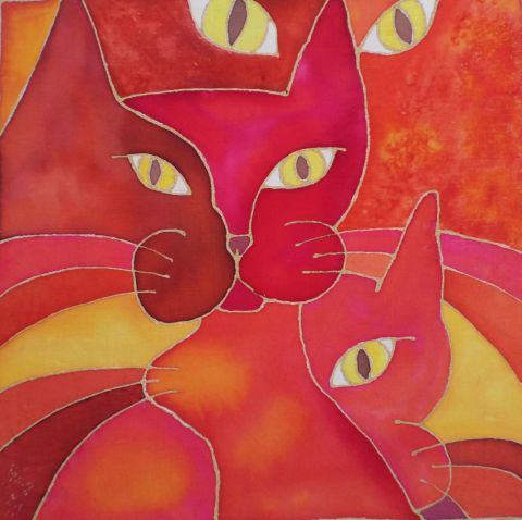 catherine vaganay metal sculpture - Psychedelic Cat Serie: Red Cats