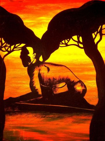 Savane africaine peinture evolia - Dessin paysage africain ...